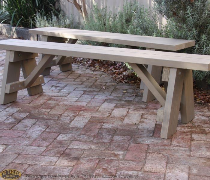 A Frame Trestle Wooden Bench Seat