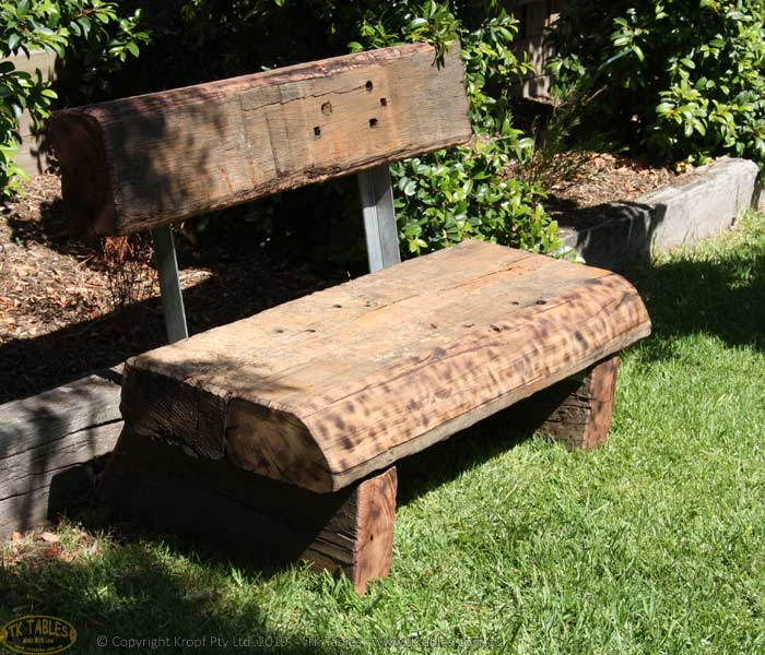 Railway Sleeper Rustic Seat With Back Support