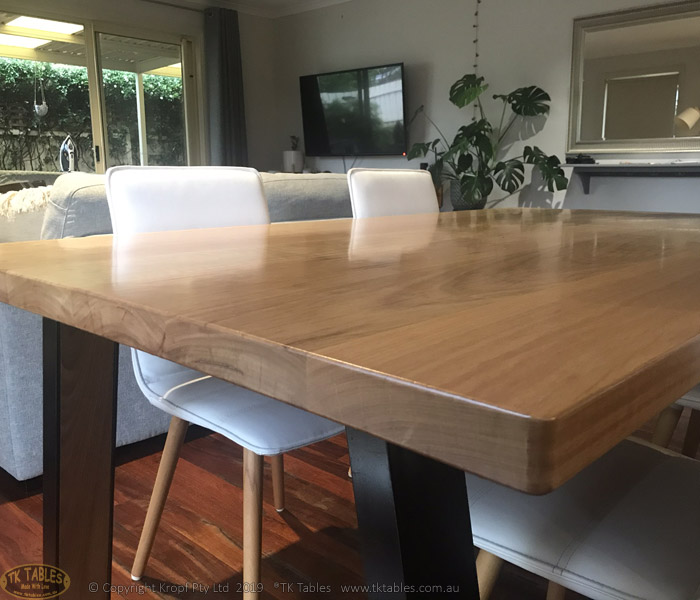 Bespoke Dining Table in Timber and Angled Hoop Steel Legs