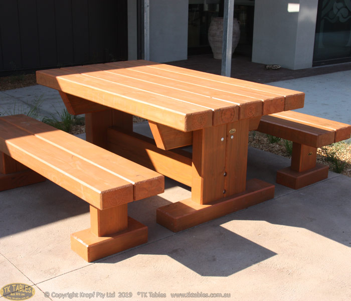 Queens Outdoor Timber Furniture Sleeper Rustic Table