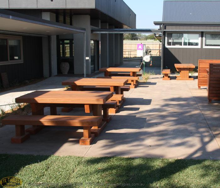 Queens Outdoor Timber Furniture Sleeper Rustic Table