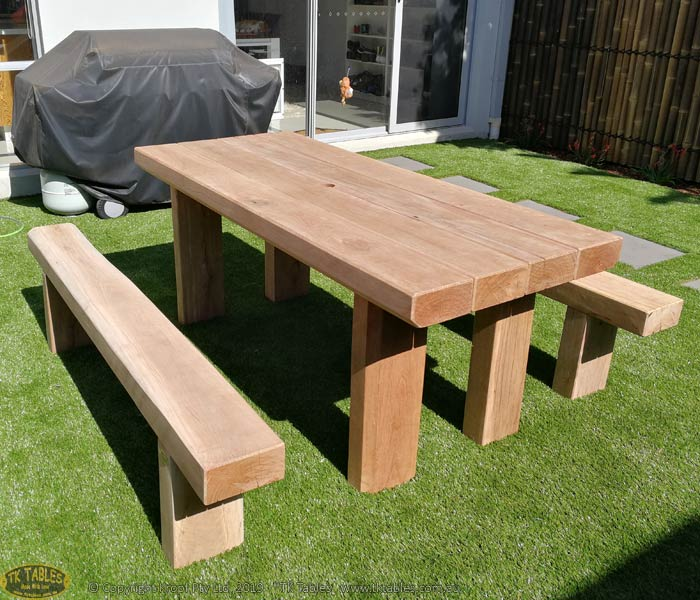 Kings Outdoor Timber Furniture Sleeper Rustic Table Setting