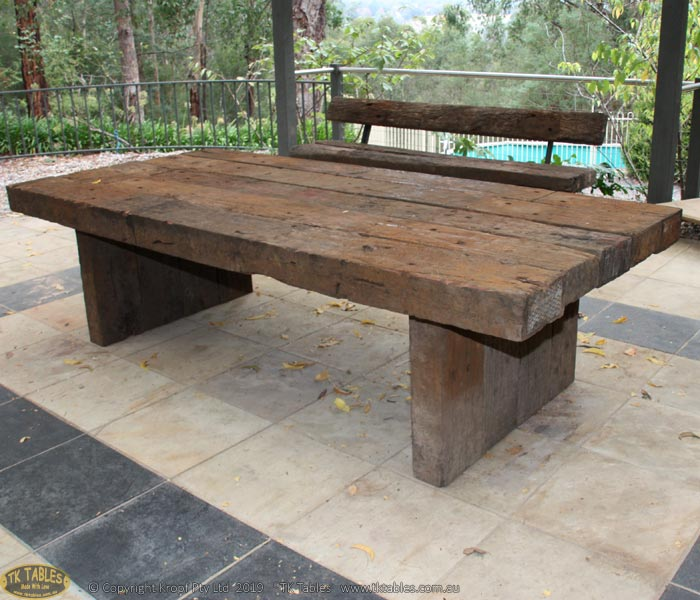Kings Outdoor Timber Furniture Sleeper Rustic Table Only