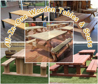 All In One Wooden Tables And Seats
