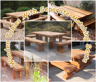 Wooden Tables With Separate Matching Seats